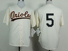 Mens Mlb Baltimore Orioles #5 B.robinson Cream ( No Name)throwbacks Jersey
