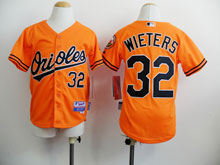 Youth Mlb Baltimore Orioles #32 Matt Wieters Orange Jersey