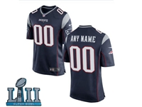 Mens Women Youth New England Patriots 2018 Super Bowl Lii Bound Blue Game Jersey