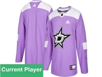 Mens Women Youth Nhl Dallas Stars Purple Fights Cancer Adidas Practice Current Player Jersey