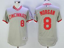 Mens Mlb Cincinnati Reds #8 Morgan Gray Pullover Throwbacks Flex Base Jersey