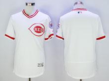 Mens Mlb Cincinnati Reds Blank White Pullover Throwbacks Flex Base Jersey