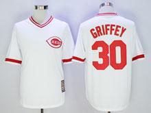 Mens Mlb Cincinnati Reds #30 Ken Griffey White Pullover Throwbacks Cool Base Jersey