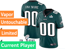 Mens Women Youth Nfl Philadelphia Eagles Green 2018 Super Bowl Lii Bound Vapor Untouchable Limited Current Player Jersey