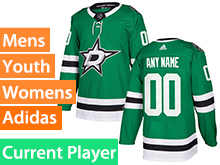 Mens Women Youth Adidas Dallas Stars Green Home Current Player Jersey
