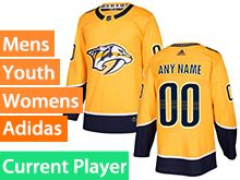 Mens Women Youth Adidas Nashville Predators Gold Home Current Player Jersey