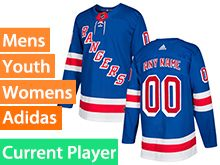 Mens Women Youth Adidas New York Rangers Blue Home Current Player Jersey