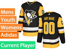 Mens Women Youth Adidas Pittsburgh Penguins Black Home Current Player Jersey