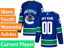 Mens Women Youth Adidas Vancouver Canucks Blue Home Current Player Jersey
