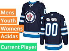 Mens Women Youth Adidas Winnipeg Jets Blue Home Current Player Jersey