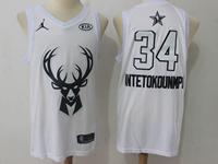 Mens 2018 All Star Nba Milwaukee Bucks #34 Giannis Antetokounmpo White Jersey