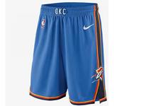 Mens 2017-18 Season Nba Oklahoma City Thunder Blue Shorts