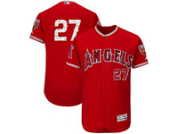 Mens Mlb Los Angeles Angels #27 Mike Trout Majestic Red 2018 Spring Training Flex Base Player Jersey