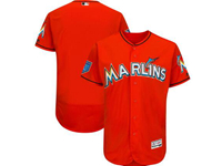 Mens Mlb Miami Marlins Blank Majestic Orange 2018 Spring Training Flex Base Team Jersey