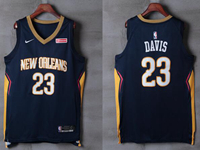 Mens New Orleans Hornets #23 Davis Blue Nike City Edition Jersey