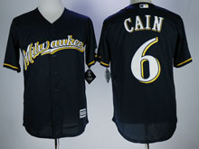 Mens Mlb Milwaukee Brewers #6 Cain Blue Cool Base Baseball Jersey