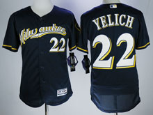 Mens Majestic Mlb Milwaukee Brewers #22 Yelich Blue Flex Base Jersey