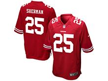 Mens Womens Youth San Francisco 49ers #25 Richard Sherman Red Nike Game Jersey
