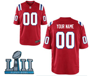 Mens Women Youth New England Patriots 2018 Super Bowl Lii Bound Red Game Jersey