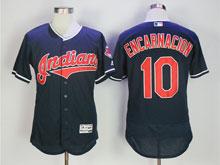 Mens Mlb Cleveland Indians #10 Encarnacion Dark Blue Flex Base Jersey