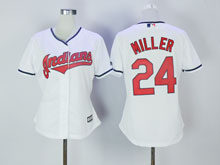 Women Mlb Cleveland Indians #24 Andrew Miller White Cool Base Jersey