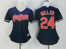Women Mlb Cleveland Indians #24 Andrew Miller Dark Blue Cool Base Jersey