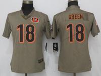 Women Nfl Cincinnati Bengals #18 A.j.green Green Olive Salute To Service Elite Nike Jersey