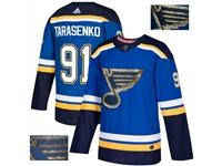 Mens Adidas Nhl St.louis Blues #91 Vladimir Tarasenko Blue Fashion Gold Lace Embroidery Jersey