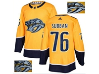 Mens Adidas Nhl Nashville Predators #76 P. K. Subban Gold Fashion Gold Lace Embroidery Jersey