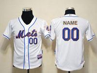 Mens Womens Youth Mlb New York Mets Custom Made Full White Cool Base Jersey