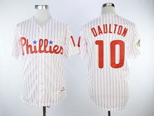 Mens Majestic Philadelphia Phillies #10 Darren Daulton White Stripe Cool Base Player Jersey