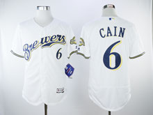 Mens Majestic Mlb Milwaukee Brewers #6 Cain White Flex Base Jersey