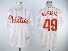 Mens Majestic Philadelphia Phillies #49 Jake Arrieta White Cool Base Player Jersey