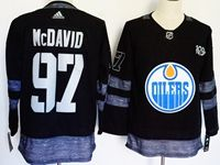 Mens Nhl Edmonton Oilers #97 Connor Mcdavid 100th Anniversary Black Adidas Jersey