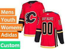 Mens Women Youth Nhl Calgary Flames Custom Made Red Adidas Jersey