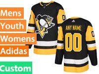 Mens Women Youth Adidas Nhl Pittsburgh Penguins Custom Made Black Jersey