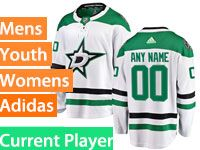 Mens Women Youth Adidas Dallas Stars White Away Current Player Jersey