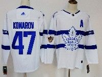 Mens Nhl Toronto Maple Leafs #47 Leo Komarov White Away Adidas Jersey