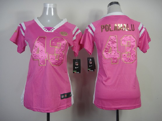Ecseller Official Women Nfl Pittsburgh Steelers 43 Polamalu 2014 Pink Fashion Rhinestone