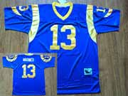 Mens nfl st. louis rams #13 warner blue throwbacks Jersey