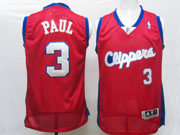 Mens Nba Los Angeles Clippers #3 Paul Red Swingman(clippers White Number) Jersey (m)