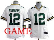 mens nfl Green Bay Packers #12 Aaron Rodgers white game jersey