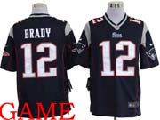 mens nfl New England Patriots #12 Tom Brady blue game jersey