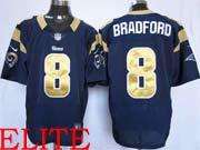 Mens Nfl St. Louis Rams #8 Bradford Dark Blue Elite Jersey