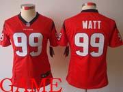 women  nfl Houston Texans #99 JJ Watt red game jersey