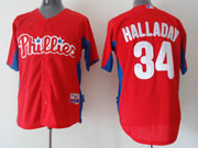 Mens Mlb Philadelphia Phillies #34 Halladay Red New Style Jersey