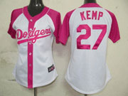 Women Mlb Los Angeles Dodgers #27 Kemp Pink Splash Fashion Jersey