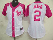 Women Mlb New York Yankees #2 Jeter Pink Splash Fashion Jersey
