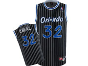 Mens Nba Orlando Magic #32 O'neal Black (white Stripe) Swingman Jersey(m)