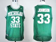 Mens Ncaa Nba Michigan State #33 Johnson Green Jersey Gz